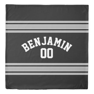 Black and Silver Sports Jersey Custom Name Number Duvet Cover