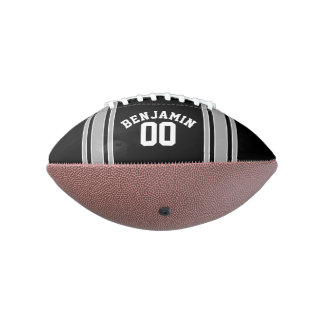 Black and Silver Sports Jersey Custom Name Number Football