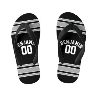 Black and Silver Sports Jersey Custom Name Number Kid's Flip Flops