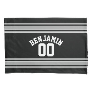 Black and Silver Sports Jersey Custom Name Number Pillowcase
