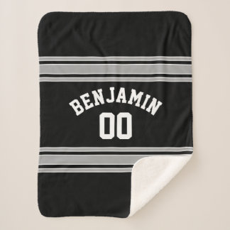 Black and Silver Sports Jersey Custom Name Number Sherpa Blanket