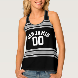 Black and Silver Sports Jersey Custom Name Number Tank Top