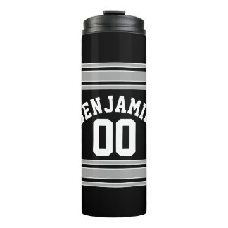 Black and Silver Sports Jersey Custom Name Number Thermal Tumbler