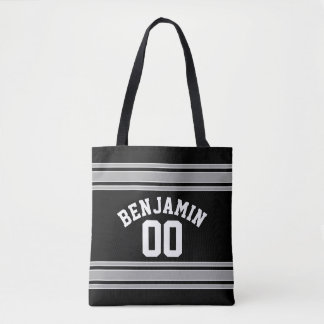 Black and Silver Sports Jersey Custom Name Number Tote Bag
