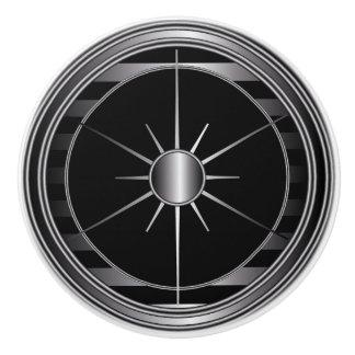 Black and Silver Star Trim Ceramic Knob
