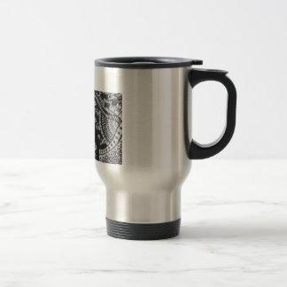 Black and silver travel mug with henna design