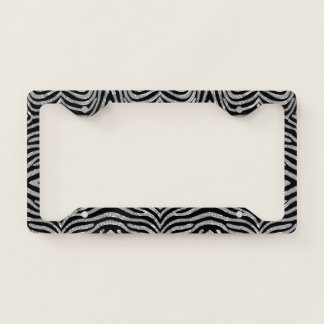 Black and silver zebra pattern license plate frame
