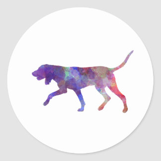 Black and So Coonhound in watercolor Round Sticker