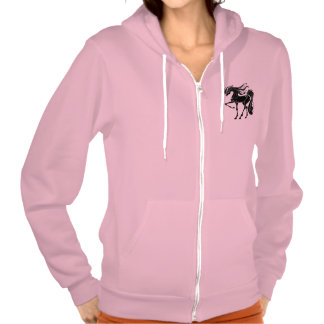 Black and Stylized horse design Hooded Pullover
