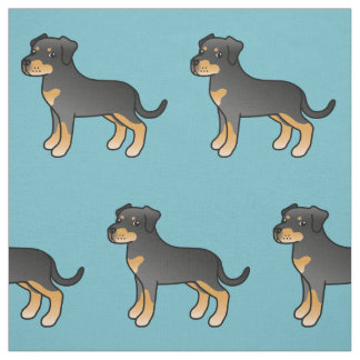 Black And Tan Cartoon Rottweiler Dog Fabric