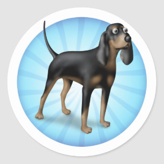 Black and Tan cartoon Round Sticker