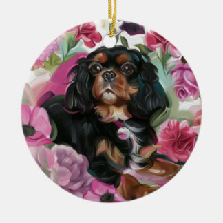 Black and tan Cavalier Christmas Ornament floral