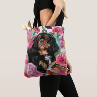 Black and tan Cavalier tote bag | pink floral