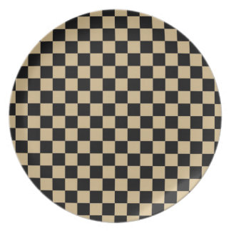 Black and Tan Checkered Dinner Plate