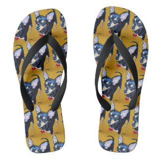 Black and Tan Chihuahua Flip Flops