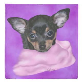 Black and Tan Chihuahua Puppy Duvet Cover