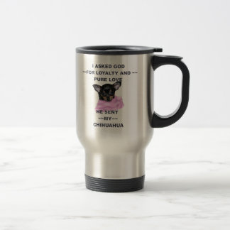 Black and Tan Chihuahua Puppy Monogrammed Travel Mug