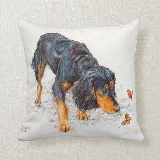 Black and tan Cocker Spaniel with Butterflies Throw Pillow
