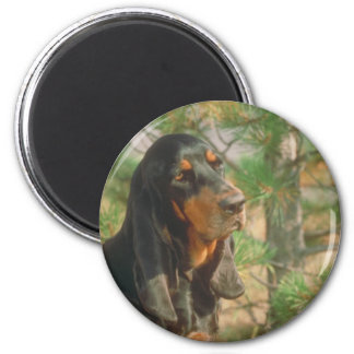 Black and Tan Coonhound 2 Inch Round Magnet