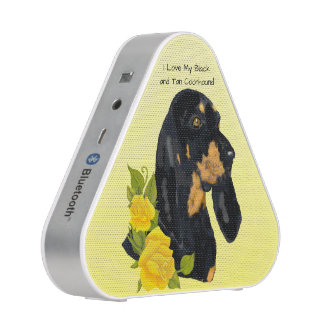 Black and Tan Coonhound and Yellow Roses Blueooth Speaker