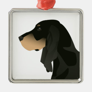Black and Tan Coonhound Basic Breed Customizable Silver-Colored Square Ornament