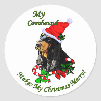 Black and Tan Coonhound Christmas Gifts Round Sticker