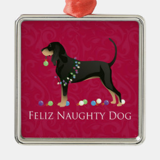 Black and Tan Coonhound Christmas Silver-Colored Square Ornament