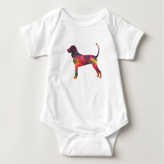 Black and Tan Coonhound Colorful Silhouette Baby Bodysuit