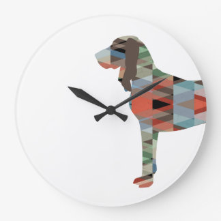 Black and Tan Coonhound Colorful Silhouette Large Clock