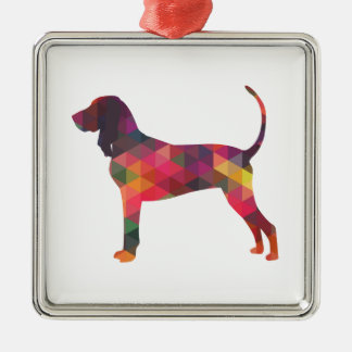 Black and Tan Coonhound Colorful Silhouette Metal Ornament