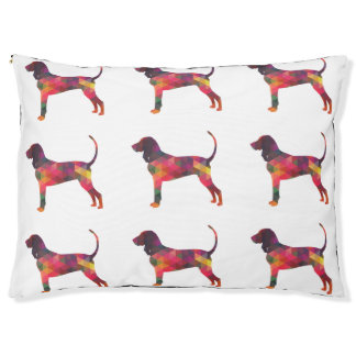 Black and Tan Coonhound Colorful Silhouette Pet Bed