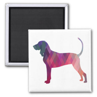 Black and Tan Coonhound Colorful Silhouette Square Magnet