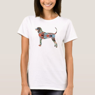 Black and Tan Coonhound Colorful Silhouette T-Shirt