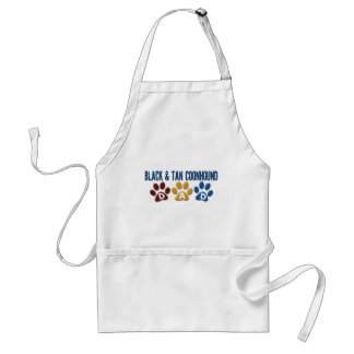 BLACK AND TAN COONHOUND DAD Paw Print Adult Apron