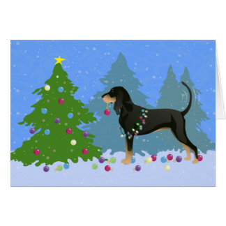 Black and Tan Coonhound Decorating Christmas Tree Greeting Card