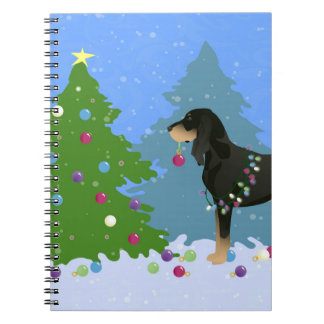 Black and Tan Coonhound Decorating Christmas Tree Spiral Notebook