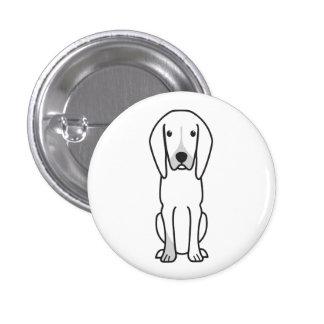 Black and Tan Coonhound Dog Cartoon Button
