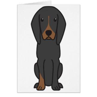 Black and Tan Coonhound Dog Cartoon Card