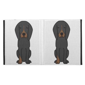 Black and Tan Coonhound Dog Cartoon iPad Folio Cases