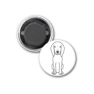 Black and Tan Coonhound Dog Cartoon Magnets