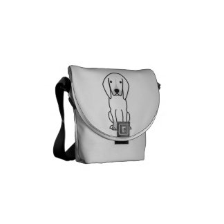 Black and Tan Coonhound Dog Cartoon Messenger Bags