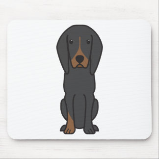 Black and Tan Coonhound Dog Cartoon Mouse Pads