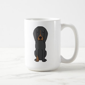 Black and Tan Coonhound Dog Cartoon Coffee Mug
