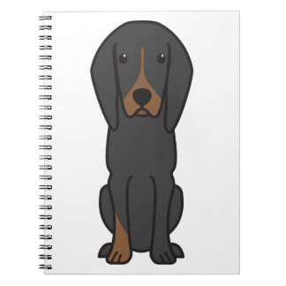 Black and Tan Coonhound Dog Cartoon Spiral Notebooks