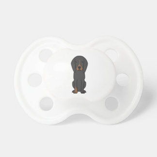 Black and Tan Coonhound Dog Cartoon Pacifier