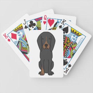 Black and Tan Coonhound Dog Cartoon Card Decks
