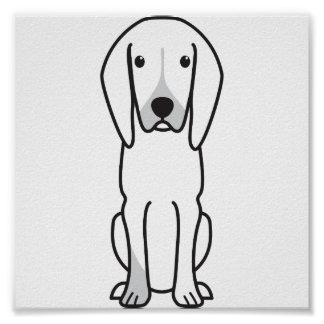 Black and Tan Coonhound Dog Cartoon Posters
