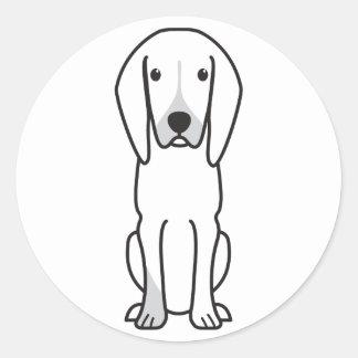 Black and Tan Coonhound Dog Cartoon Round Sticker