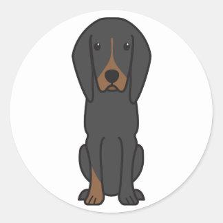 Black and Tan Coonhound Dog Cartoon Round Stickers