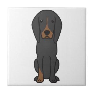Black and Tan Coonhound Dog Cartoon Tiles